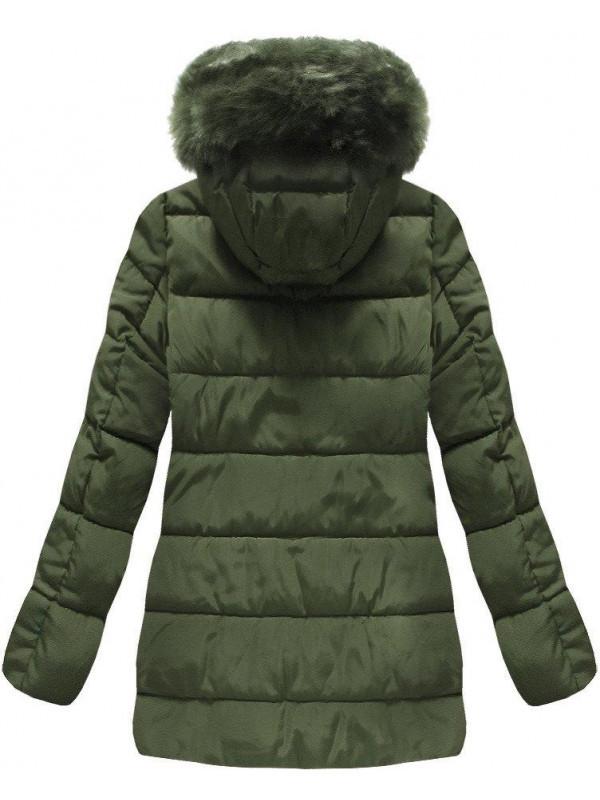 Khaki prešívaná zimná bunda B3572