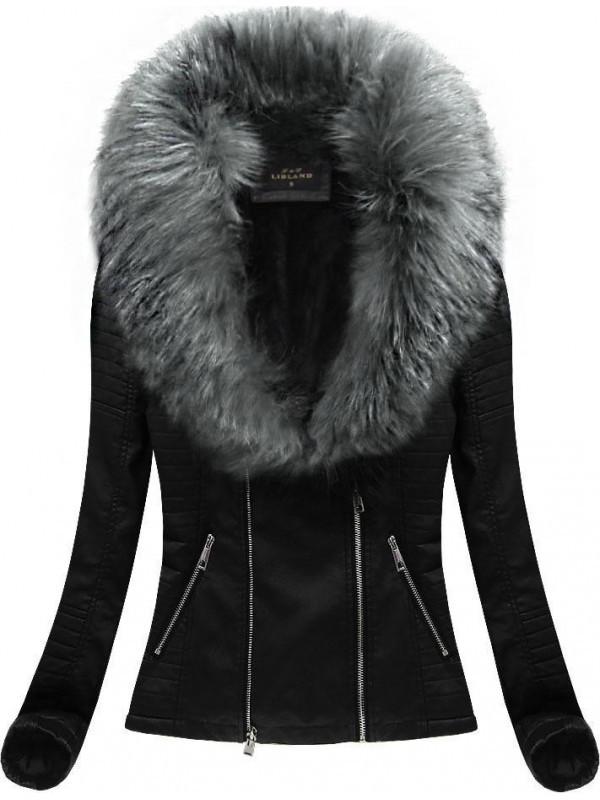 Kožená bunda so sivou kožušinou (5517) - Dámske bundy - Locca.sk f17cbb9fedb