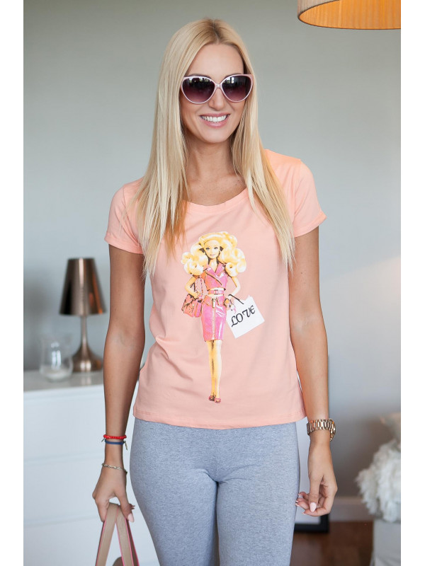 5957318f0ddc Lososové tričko s potlačou - Dámske tričká - Locca.sk