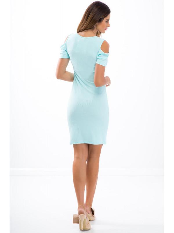 Mentolové elastické šaty s odhalenými ramenami 3556 - Dámske ... 81d5fde1c31