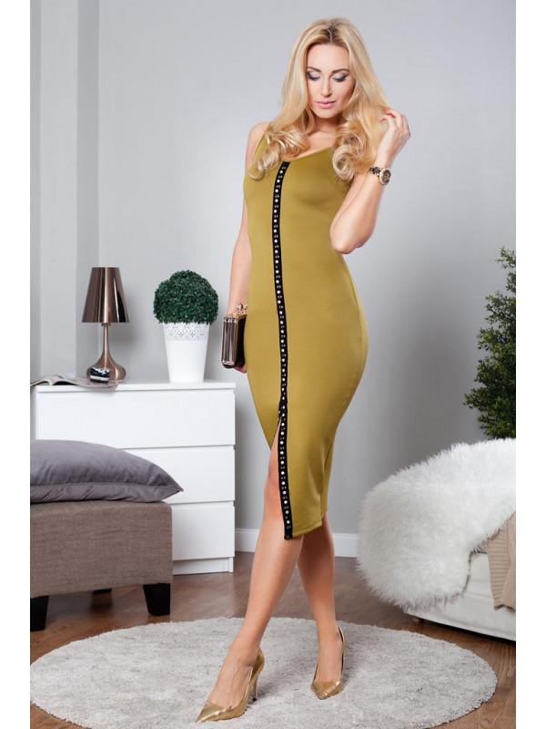 5007e363957 Midi olivové šaty - Spoločenské šaty krátke - Locca.sk