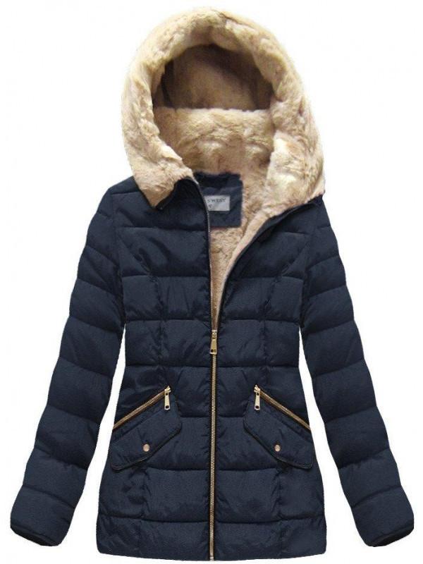 Modrá dámska zimná bunda B1051