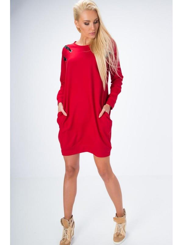 248d1d6718b1 Oversize červené šaty - Dámske ležérne šaty - Locca.sk