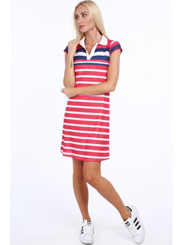 77f5be7b6 Pásikavé dámske polo šaty 7578, červené/granátové - Dámske letné ...