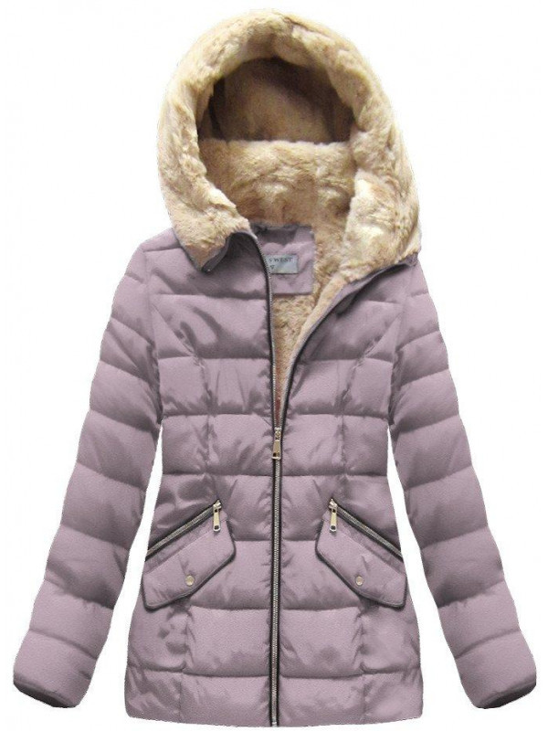 Ružová dámska zimná bunda B1051