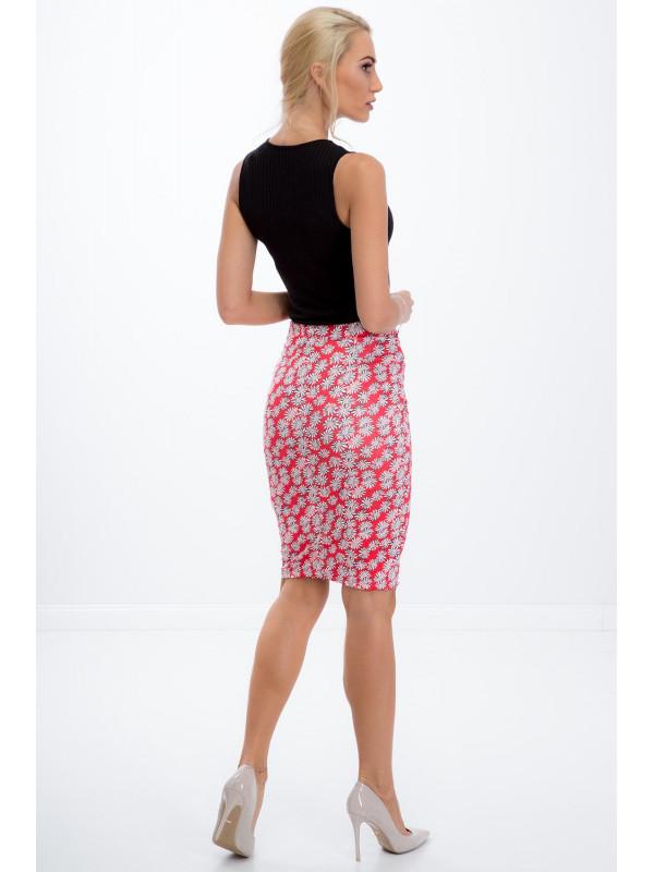 fc580e12dec6 Ružová sukňa s kvetinami - Dámske elastické sukne - Locca.sk