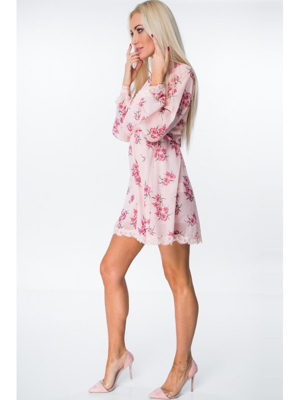 Ružové šaty s kvetmi 6754 - Dámske letné šaty - Locca.sk 2d4a67746bc