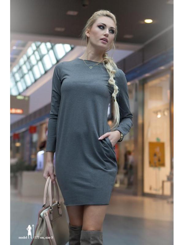 9d3efaca33 Šedé mini šaty s dlhým rukávom - Mini šaty - Locca.sk