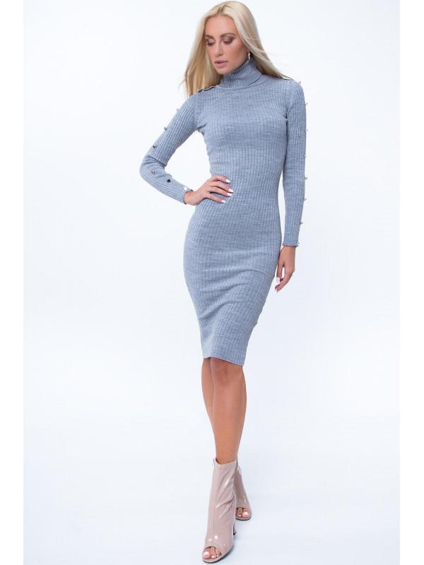 Šedé šaty s rolákom MP32070 - Dámske úpletové šaty - Locca.sk ef8ea82db87