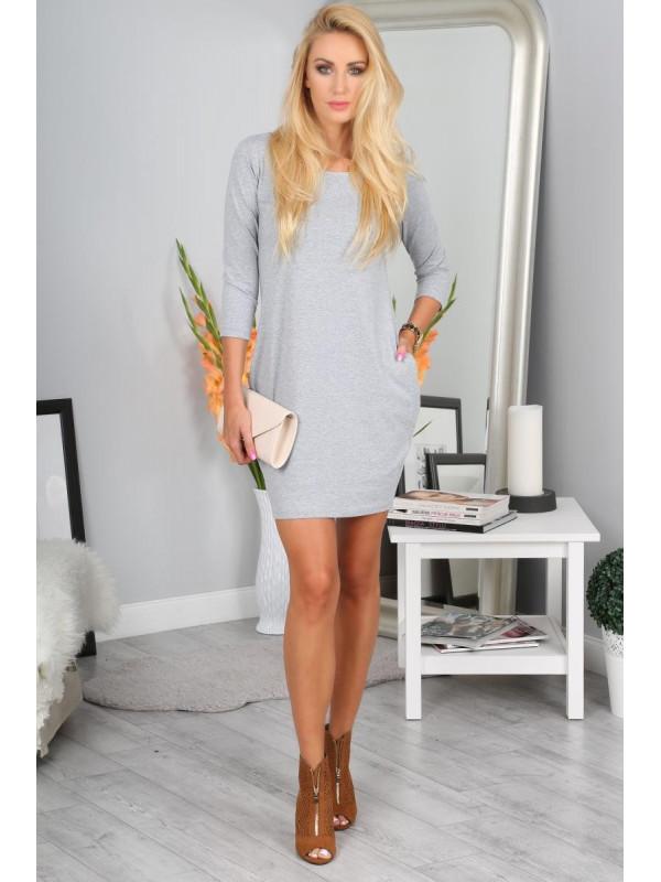 Sivé BASIC šaty s vreckami 9988 - Dámske ležérne šaty - Locca.sk c1a99afdbac