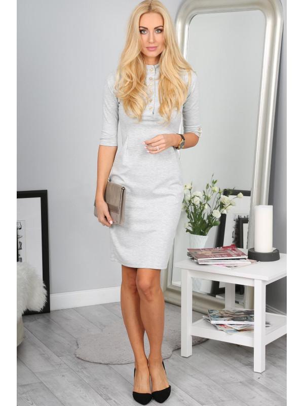 8f9bf045cc14 Sivé šaty s 3 4 rukávom 7778 - Spoločenské šaty krátke - Locca.sk