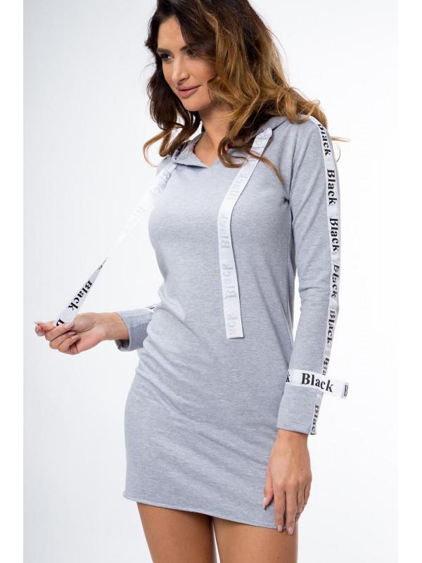 Sivé šaty s kapucňou 1386 - Dámske športové šaty - Locca.sk eecaffc392b