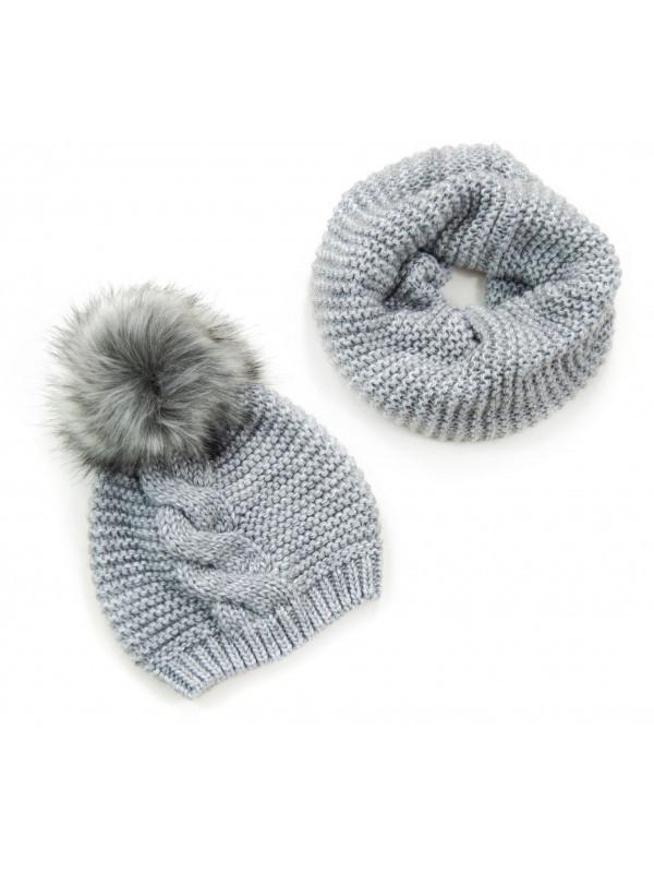 e41dfc089 Sivý dámsky set čiapka + šál - Dámske čiapky - Locca.sk