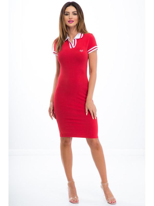 f69f8a2eef2a Športové červeno-bielé polo šaty - Dámske ležérne šaty - Locca.sk