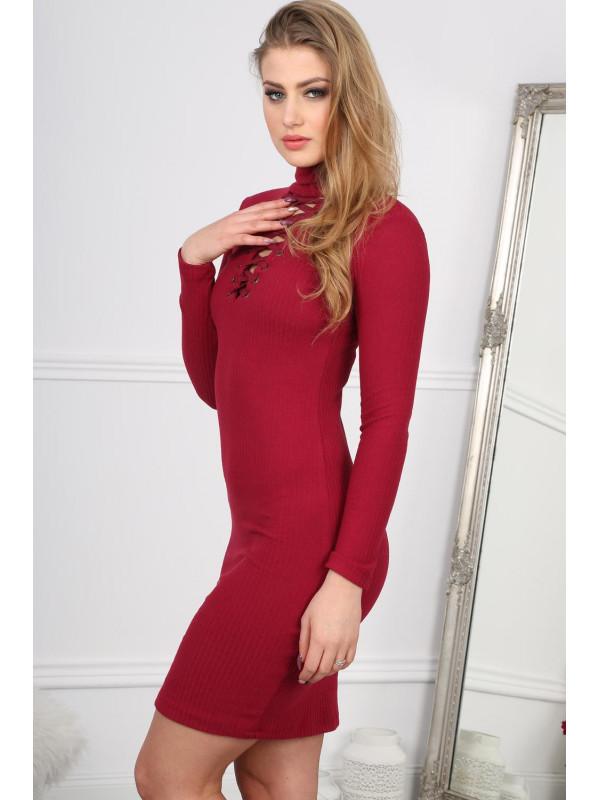 Štýlové bordové mini šaty