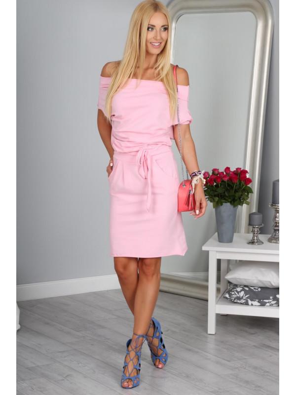 Svetlo ružové krátke šaty 9978 vyp - Spoločenské šaty krátke - Locca.sk 674b7471c50