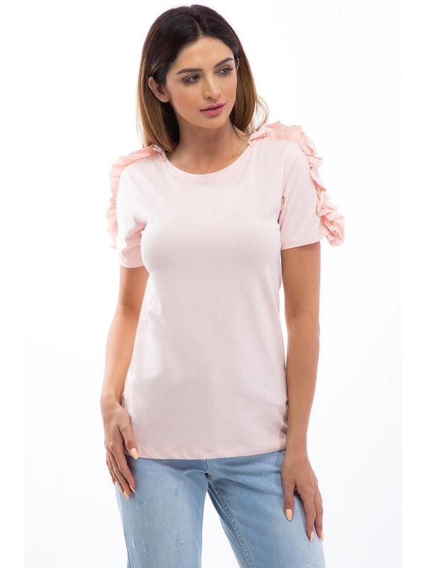0d1060f28df0 Svetloružové tričko s volánmi - Dámske tričká - Locca.sk