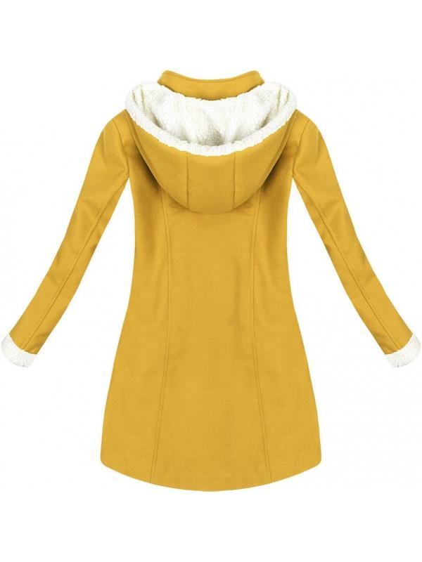 Teplý zimný kabát horčicový (65ART) - Dámske kabáty - Locca.sk 3e3cf8358c