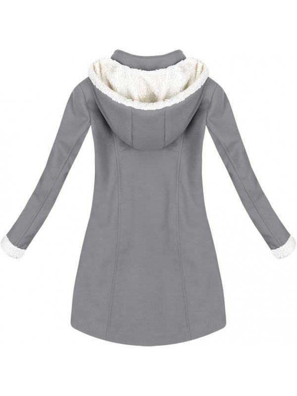 Teplý zimný kabát šedý (65ART) - Dámske kabáty - Locca.sk b9a3531ed78