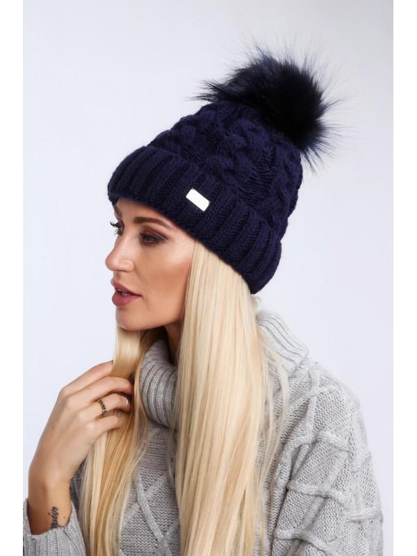 20464ea07 Tmavo modrá dámska zimná čiapka C25 - Dámske čiapky - Locca.sk
