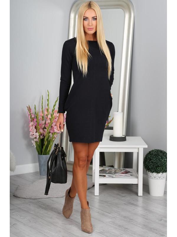 88ecdc3915 Tmavomodré mini šaty s dlhým rukávom - Mini šaty - Locca.sk