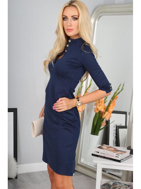 13d044a5fecb Tmavomodré šaty s 3 4 rukávom 7778 - Dámske elegantné šaty - Locca.sk