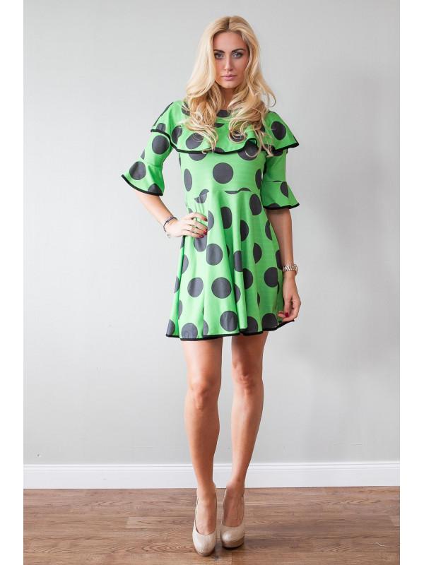 ba365a4c60eb Zelené šaty s guličkami a volánom - Dámske ležérne šaty - Locca.sk