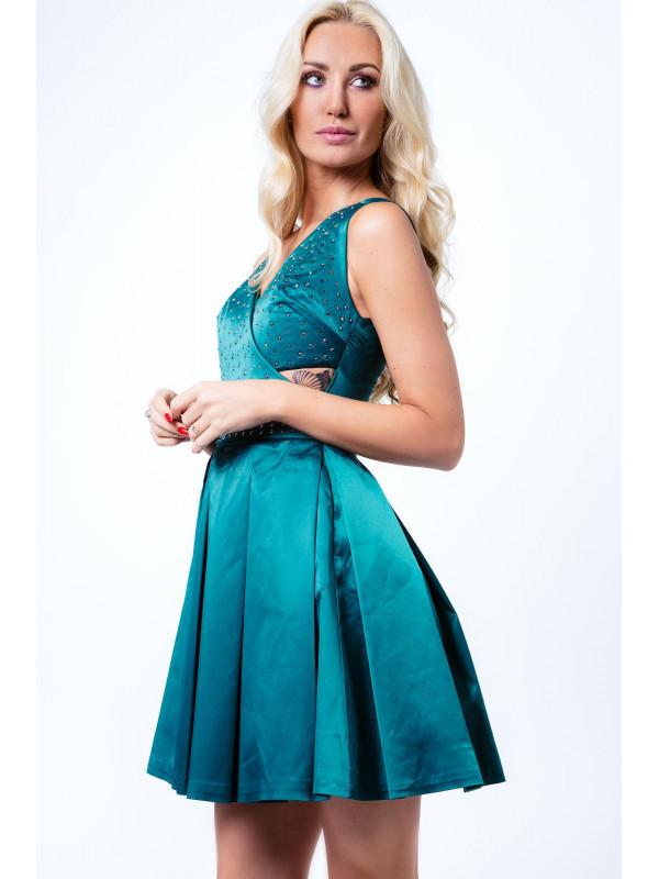926a861840c2 Zelené šaty s okrasnými kamienkami