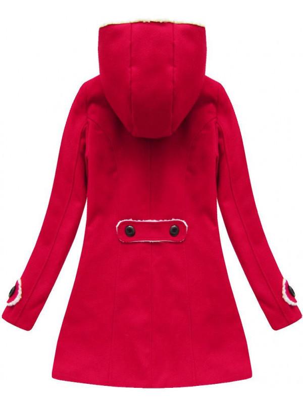 197350c39 Zimný kabát s kapucňou (75ART), červený - Dámske kabáty - Locca.sk
