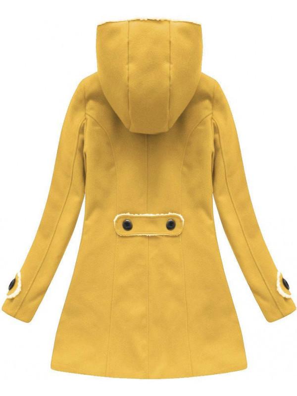 671af72e2 Zimný kabát s kapucňou (75ART), žltý - Dámske kabáty - Locca.sk