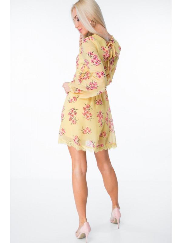 ada9a86fad34 Žlté šaty s kvetmi 6754 - Dámske letné šaty - Locca.sk