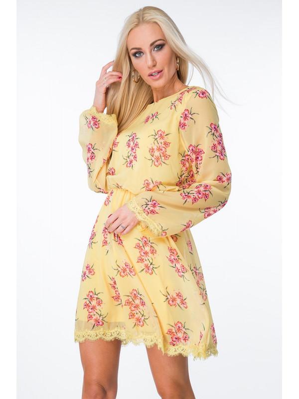 Žlté šaty s kvetmi 6754 - Dámske letné šaty - Locca.sk 976d523326b