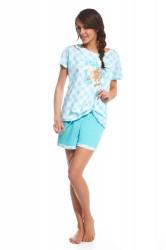 Dievčenské pyžamo Cornette pdz 583/44 rabbit biało turkusowy 140