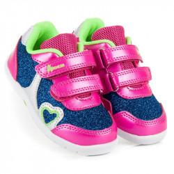 Brokátové ružovo modré dievčenské topánky na suchý