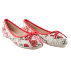 Červené balerínky s kvetmi #2