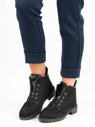 Čierne nízke semišové členkové topánky so šnurovaním