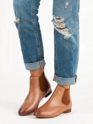 Dámske béžové kožené členkové topánky