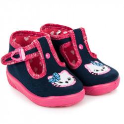 Detské modré papuče s mačkou