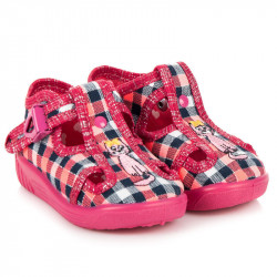 Detské ružové kárované papuče s mačkou