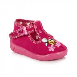 Detské ružové papuče s včielkou
