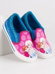 Dievčenské modro-ružové nazúvacia tenisky Ľadové