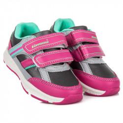 Dievčenské ružovo-šedé športové tenisky na suchý zips