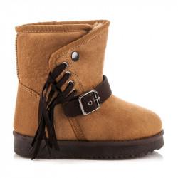 Dievčenské teplé hnedé kapce s odnímateľnými strapcami