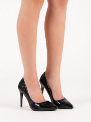 Dizajnové čierne dámske  lodičky na ihlovom podpätku