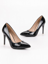 Dizajnové čierne dámske  lodičky na ihlovom podpätku #1