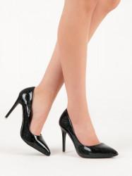 Dizajnové čierne dámske  lodičky na ihlovom podpätku #3