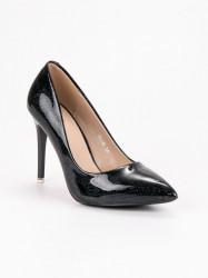 Dizajnové čierne dámske  lodičky na ihlovom podpätku #5