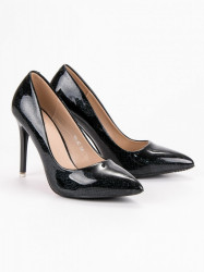 Dizajnové čierne dámske  lodičky na ihlovom podpätku #7