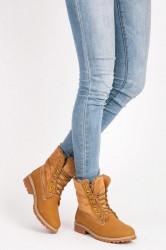 Dizajnové  členkové topánky dámske hnedé na plochom podpätku
