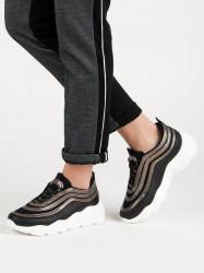 Dizajnové dámske  tenisky čierne bez podpätku
